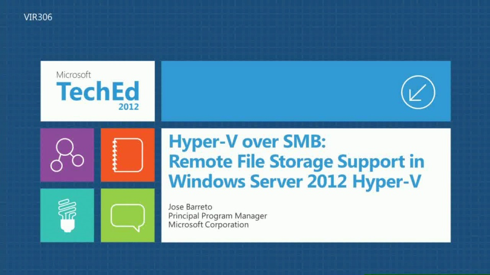 Hyper-V over SMB: Remote File Storage Support in Windows Server 2012 Hyper-V