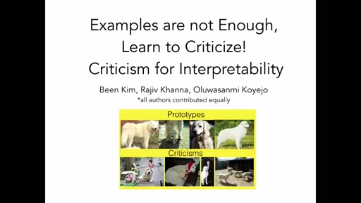 Examples are not enough, learn to criticize! Criticism for Interpretability