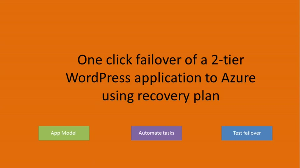 One click failover of a 2-tier WordPress application using Azure Site Recovery