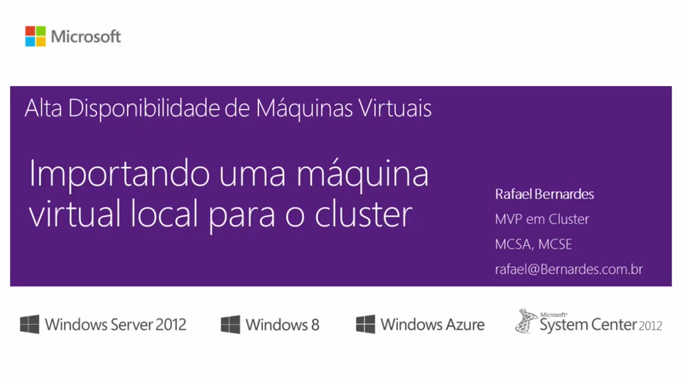 Importando uma máquina virtual local para o cluster
