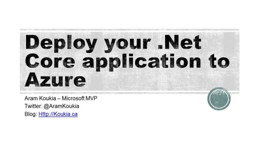 Create your first .Net Core web application and deploy to Azure