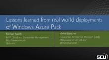 Lessons Learned from real world deployments of Windows Azure Pack