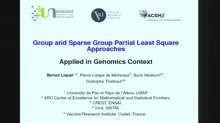 Group and sparse group partial least squares approaches applied in a genomics context