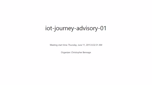IoT Journey - Advisor Meeting #1