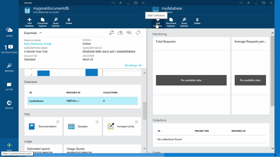Create DocumentDB on Azure