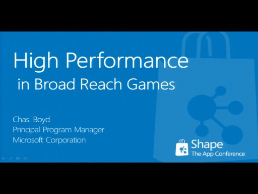 Shape'12: High Performance in Broad Reach Windows 8 Games (short)