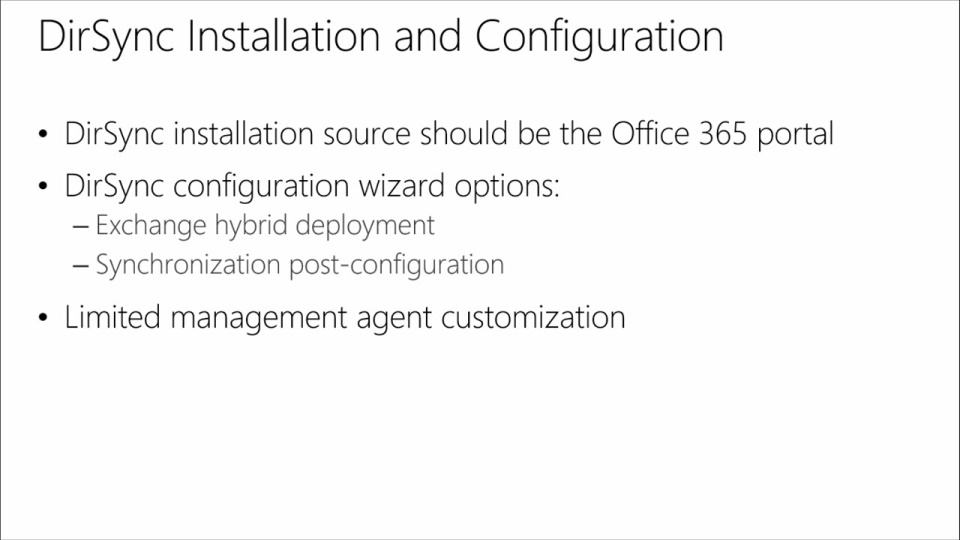 Managing Office 365 Identities and Services: (10) Implementing Directory Synhronization