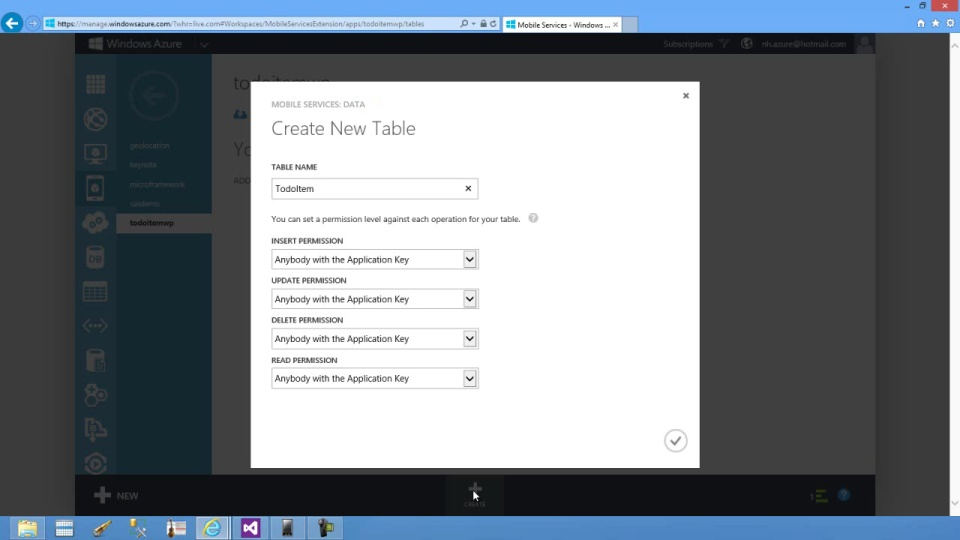 Windows Phone app - Getting Started with Data - Connecting your app to Windows Azure Mobile Services
