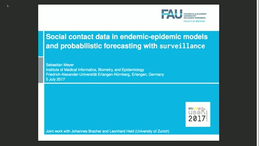 Social contact data in endemic-epidemic models and probabilistic forecasting with **surveillance**