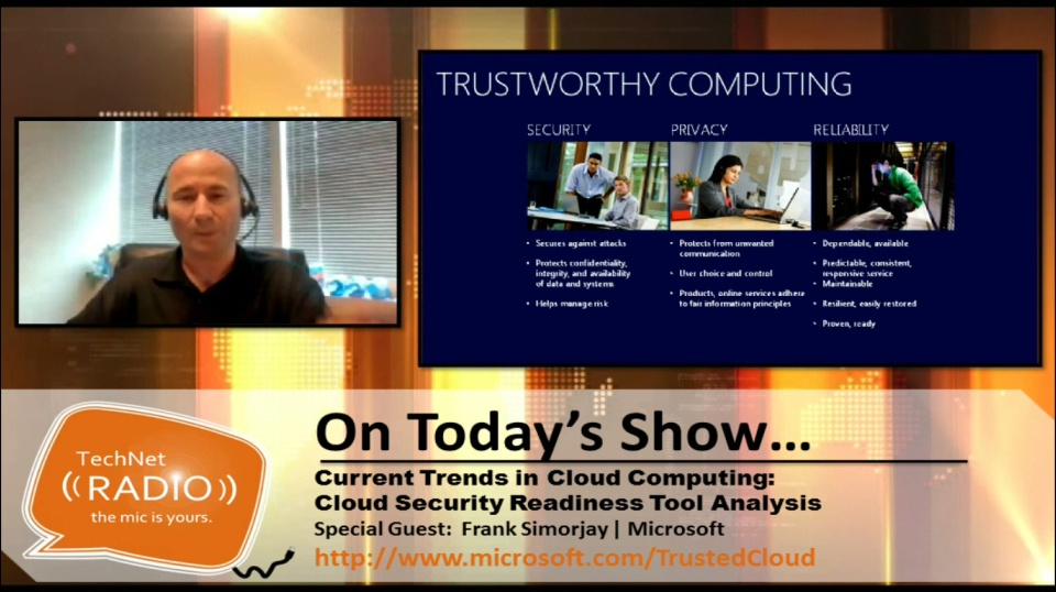 TechNet Radio: Current Trends in Cloud Computing – Cloud Security Readiness Tool Analysis