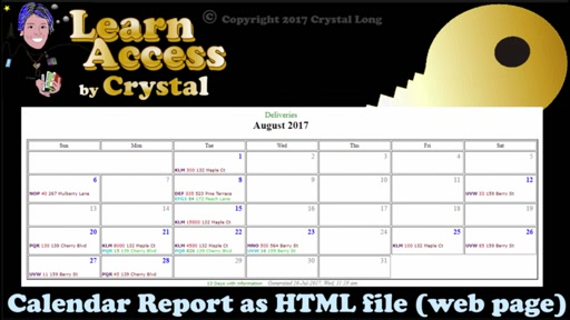 How to Create Calendar Reports from Access Queries ... as shareable Web Pages - easy!