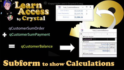 Subform to show Calculations in Microsoft Access