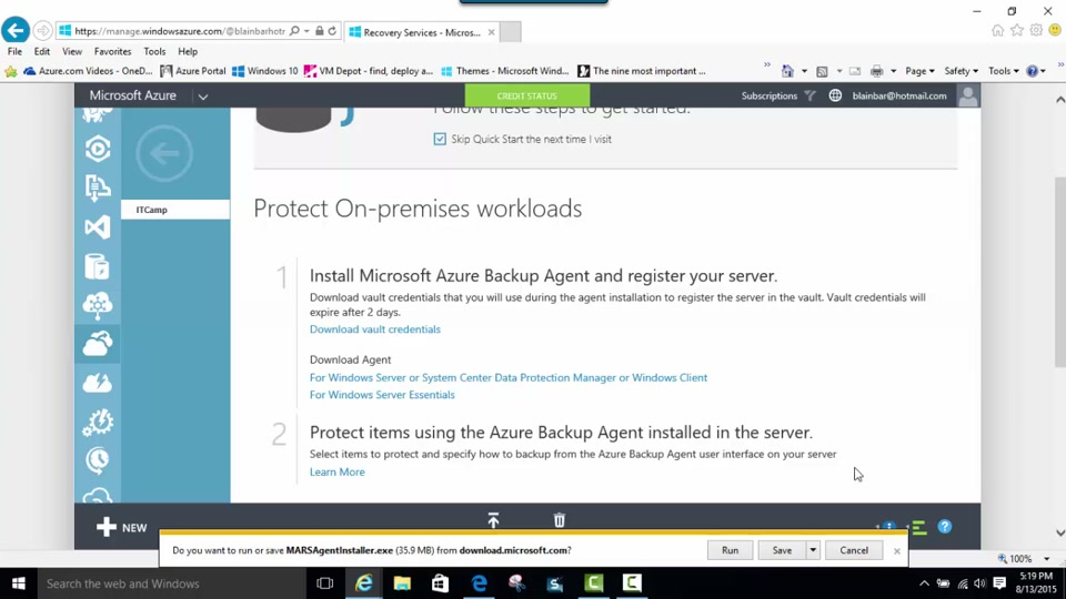 Download, install and register the Azure Backup agent