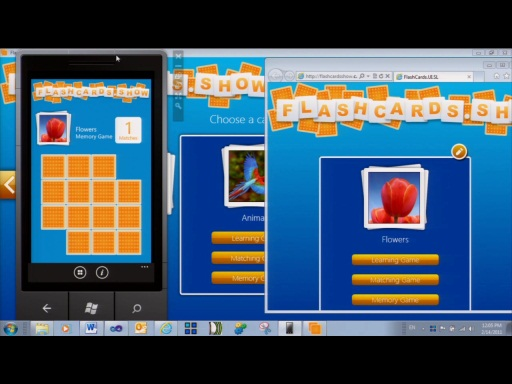Flashcards.Show Version 2 running on Windows Phone and IE