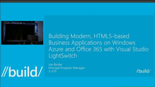 Building Modern, HTML5-Based Business Applications on Windows Azure and Office 365 with Visual Studio LightSwitch