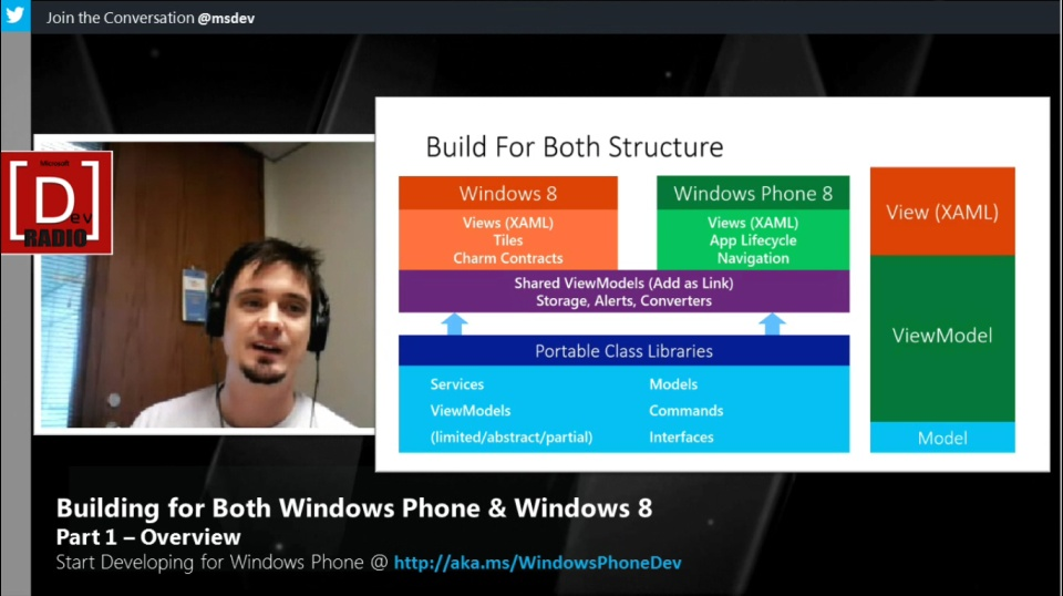 Microsoft DevRadio: (Part 1) Building for Both Windows Phone & Windows 8 - Overview