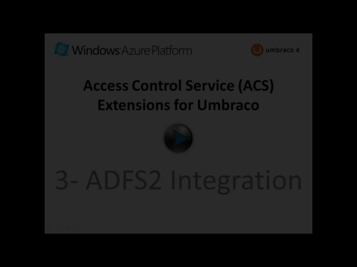 ACS Extensions for Umbraco - 3 ADFS2 Integration