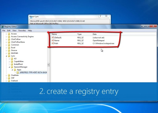Launch an executable with a Lync custom menu