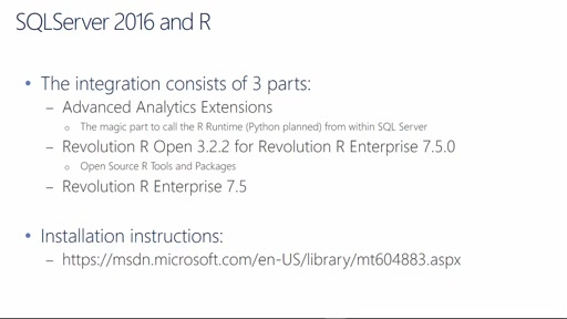 SQLServer 2016 in 15 Minutes - R Integration
