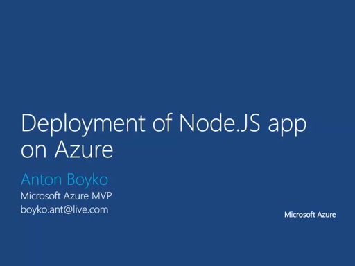 03 | Deployment of Node.JS app on Azure