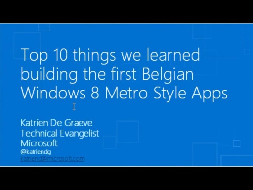 Top 10 learnings building the first Belgian Windows 8 Metro Style apps
