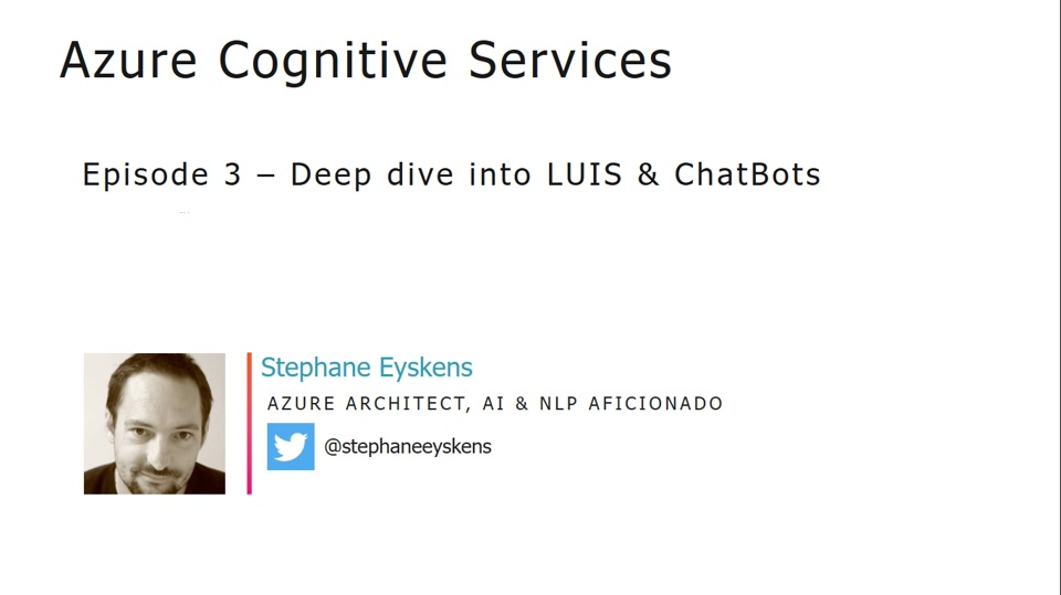 Cognitive Services Episode 3 - Deep dive into LUIS and Chatbots
