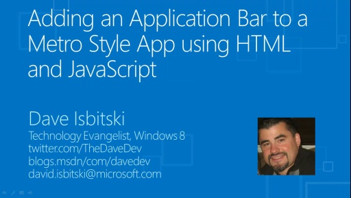 Adding an Application Bar to a Windows 8 Metro Style App using HTML and JavaScript
