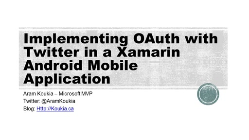 Implementing OAuth with Twitter in an empty Xamarin Forms Android Application