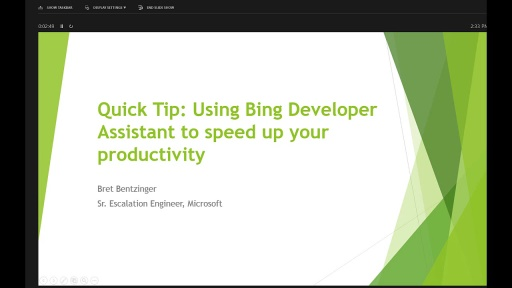 Using the Bing Developer Assistant to increase productivity
