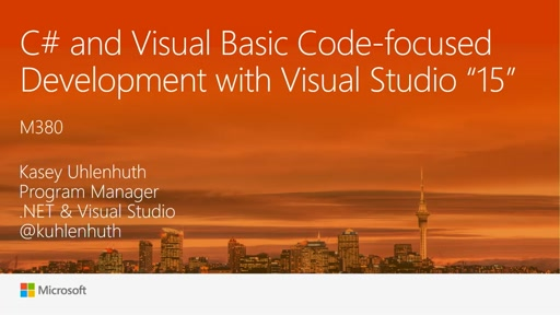 "C# and Visual Basic Code-focused Development with Visual Studio ""15"""