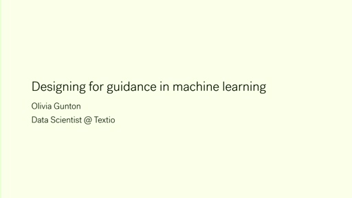 Designing for guidance in machine learning
