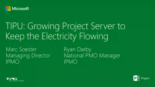 Growing Project Server into a true business solution managing thousands of minor projects with an Excel Interface to keep the nation's Electricity flowing.