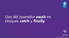 Uso del operador await en bloques catch y finally