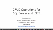 01 Agus Kurniawan -CRUD Operation for SQL Server and .NET