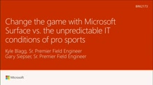Change the game with Microsoft Surface versus the unpredictable IT conditions of pro sports