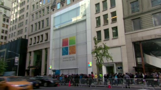 B-roll: Microsoft on Fifth Ave. and 53rd St. in New York City