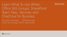 Learn what to use when: Office 365 Groups, SharePoint Team Sites, Yammer, and OneDrive for Business