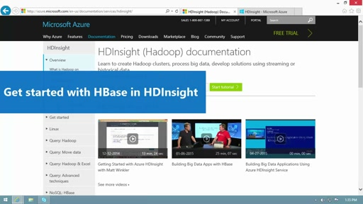 Get started with HBase in HDInsight