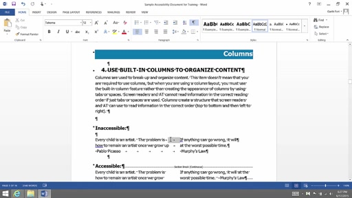 (Part 5) Creating Accessibility Documents:   Columns