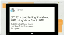 Load testing SharePoint 2013 using Visual Studio 2013