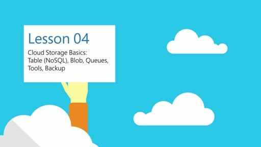 Cloud Storage Basics: Table (NoSQL), Blob, Queues, Tools, Backup