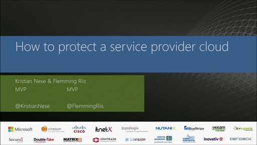 Disaster Recovery in a service provider cloud