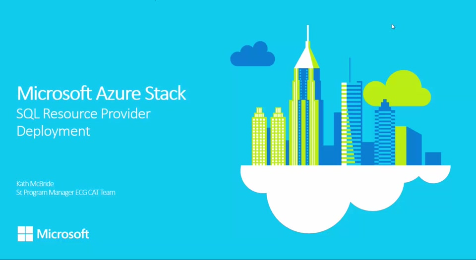 Microsoft Azure Stack TP1 Beyond the Basics #1 Deploying the SQL Resource Provider