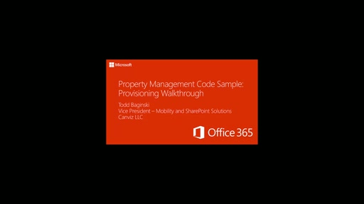 Property Management Code Sample: Provisioning Walkthrough