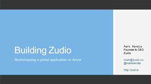 Presentation from Startups:  Building Zudio