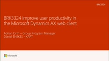 Improve user productivity in the Microsoft Dynamics AX web client