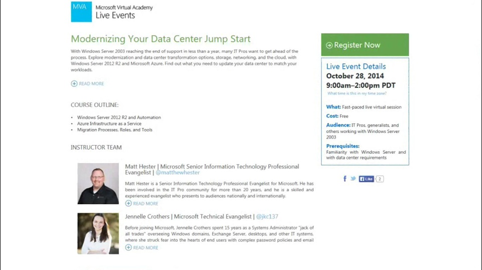 TechNet Radio: MVA Live Event - (Part 2) Modernizing Your Data Center