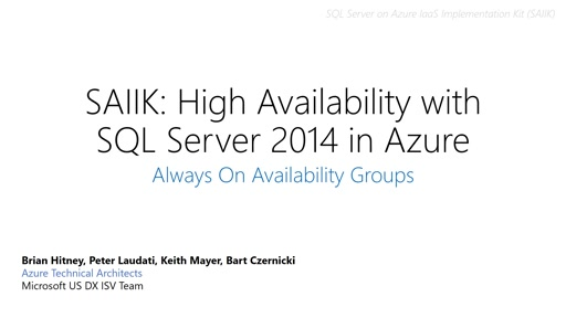SAIIK: High Availability with SQL Server in Azure