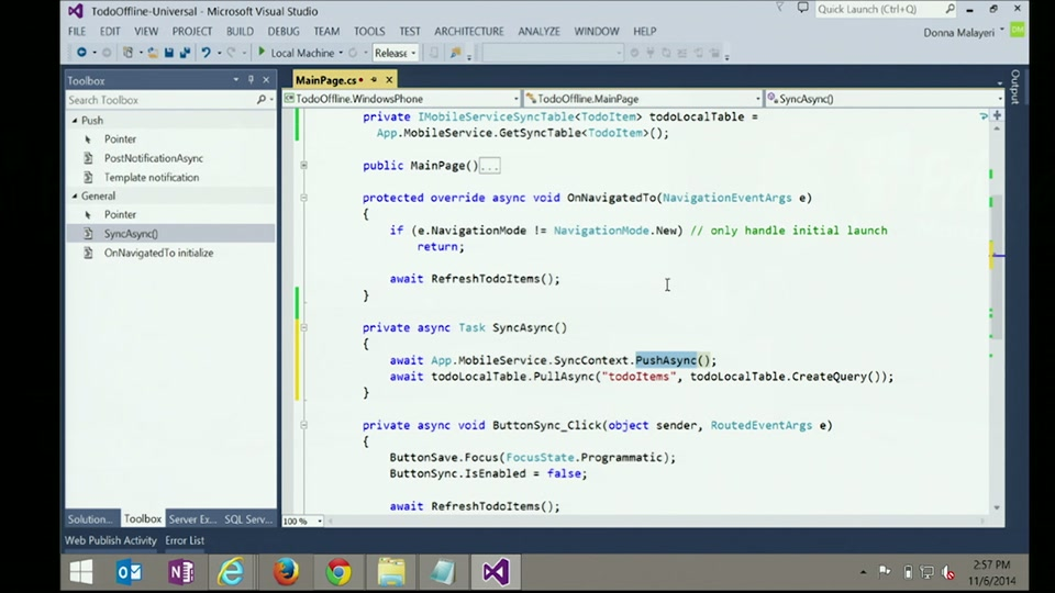Azure Mobile Services Offline Enabled Apps with Donna Malayeri