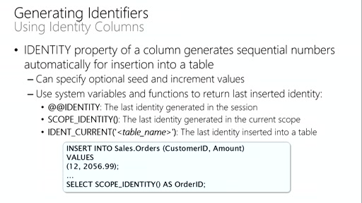 Querying with Transact-SQL: (09) Modifying Data